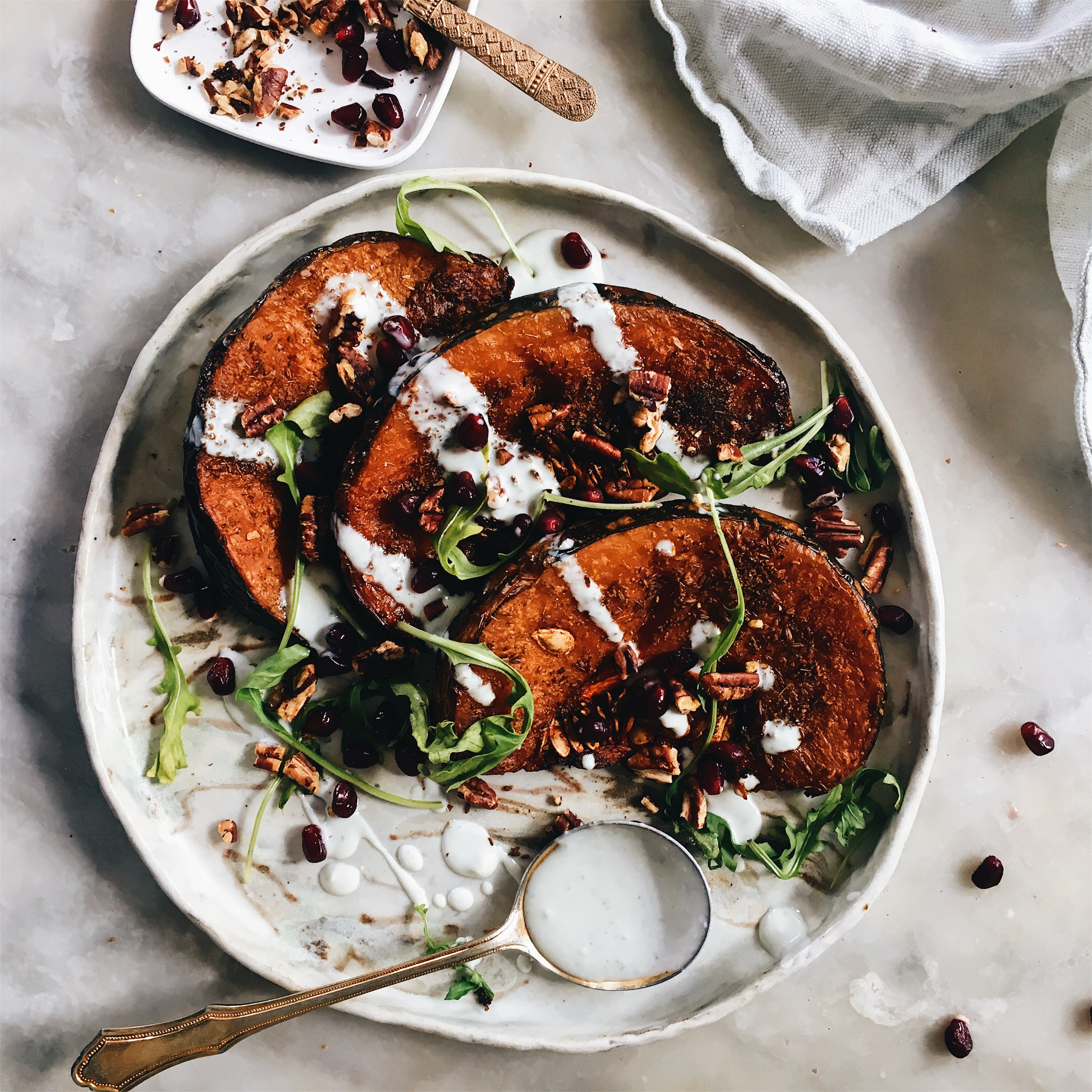 Roasted Za Atar Pumpkin With Blue Cheese Ranch Dressing